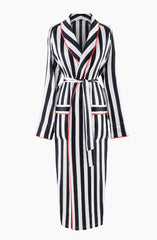 sleeper black and white striped robe with red trim