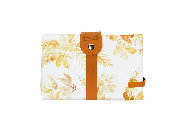 Travel Baby Change Mat Mustard Floral