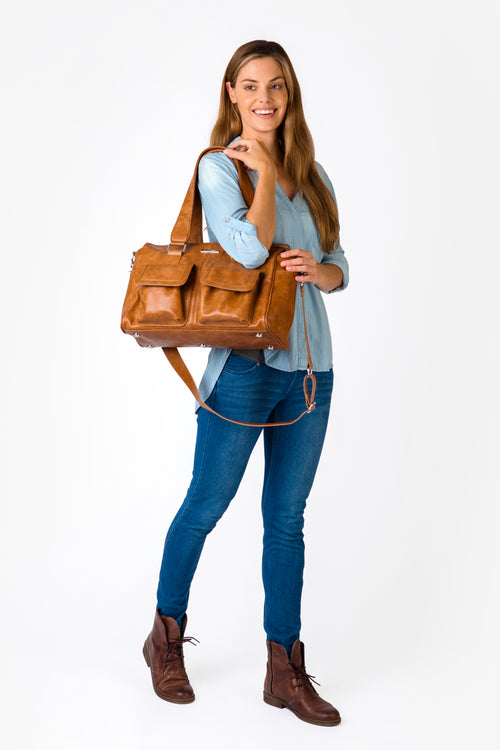 Denver Duffel Nappy Bag in Tan