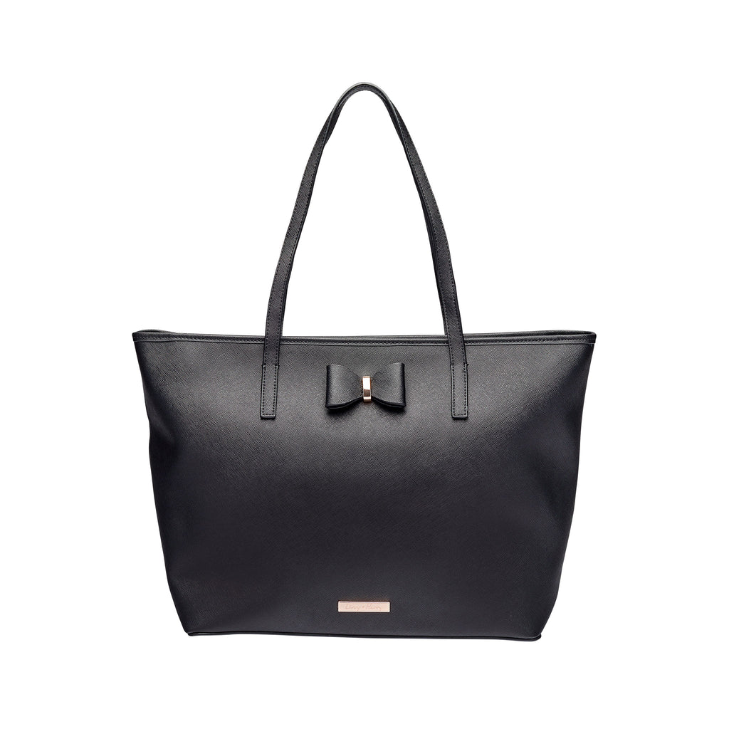 Leather Tote Nappy Bag Black - Imperfectly Perfect - Please read description before purchasing | Livvy + Harry