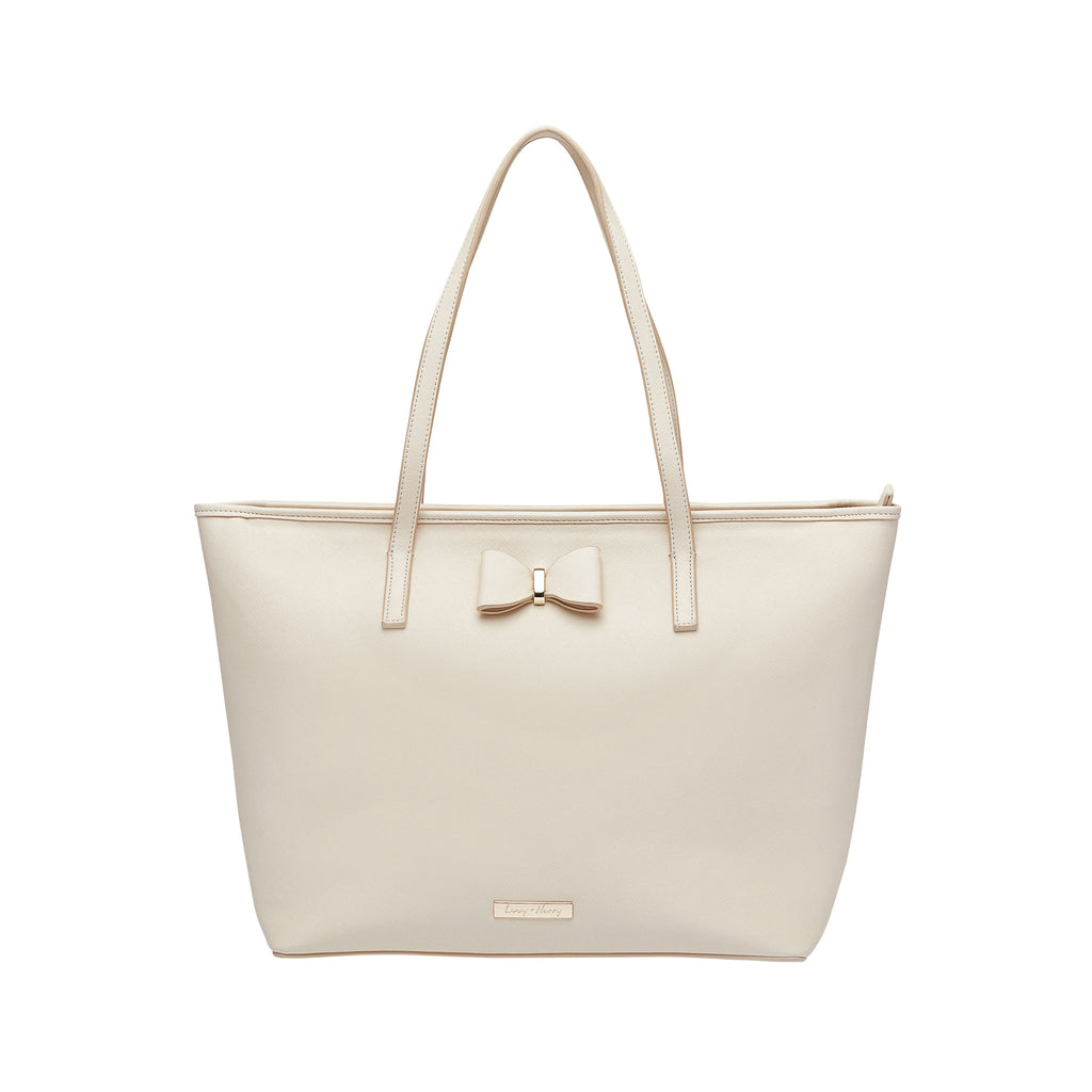 SECOND (Minor Imperfections) - Leather Tote Nappy Bag in Cream | Livvy + Harry