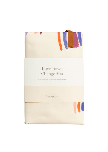 Travel Baby Change Mat Pastel Rainbows | Livvy + Harry