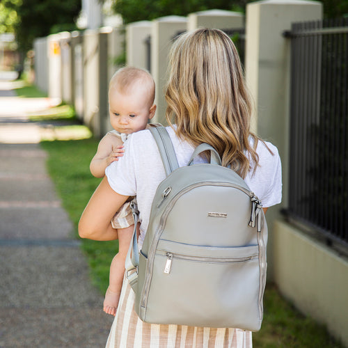 The Marseille Baby Backpack in Grey