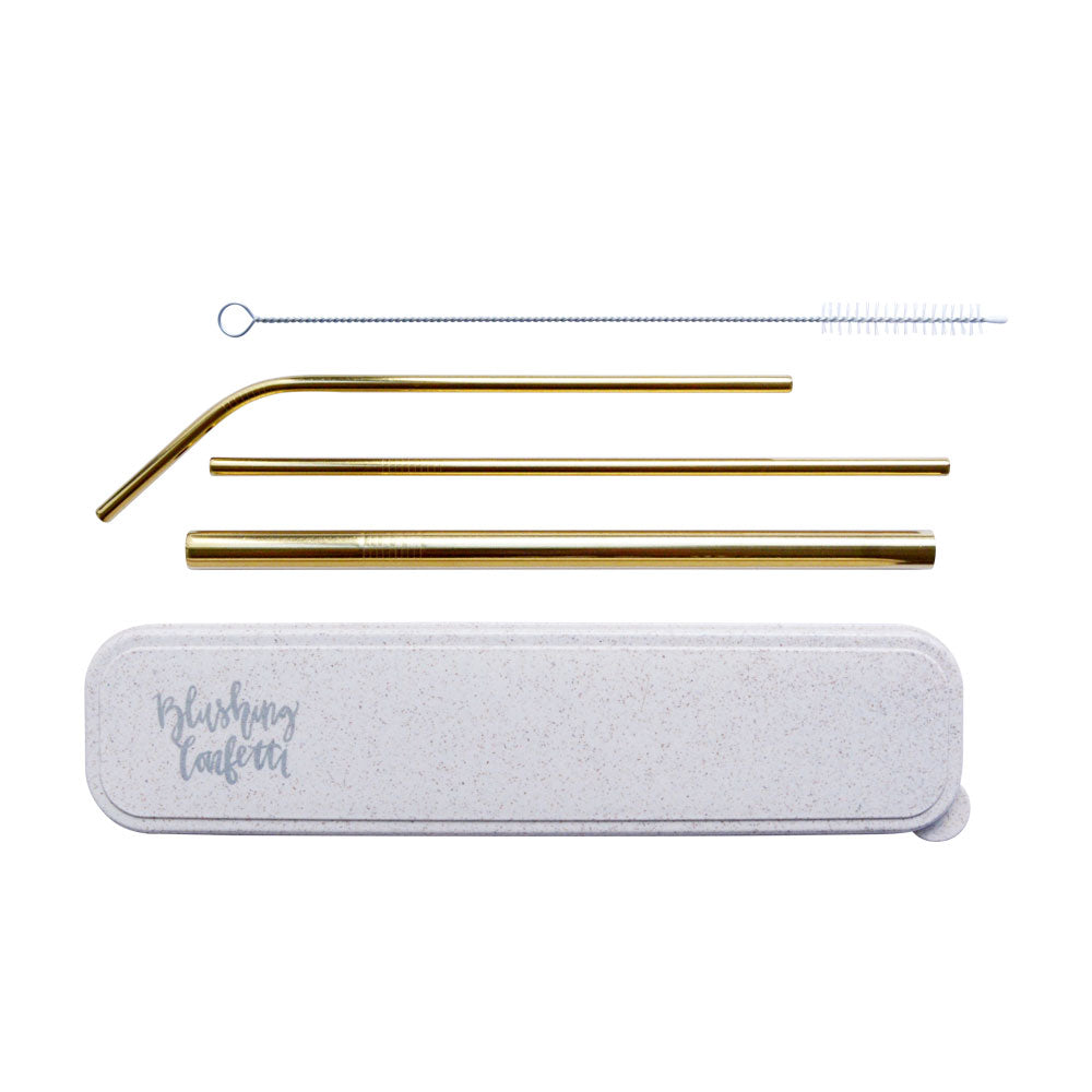 On The Go Straw Set - Gold | Livvy + Harry