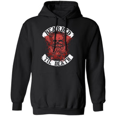 A Viking, Norse, Gym t-shirt & apparel, Bearded till death , FrontApparel[Heathen By Nature authentic Viking products]Unisex Pullover HoodieBlackS