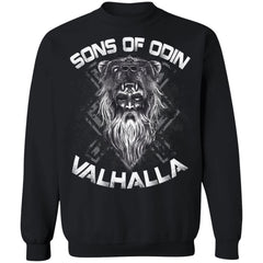 A Viking, Norse, Gym t-shirt & apparel, Sons of Odin, FrontApparel[Heathen By Nature authentic Viking products]Unisex Crewneck Pullover SweatshirtBlackS