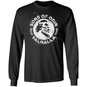 A Viking, Norse, Gym t-shirt & apparel, Sons of Odin Valhalla, FrontApparel[Heathen By Nature authentic Viking products]Long-Sleeve Ultra Cotton T-ShirtBlackS