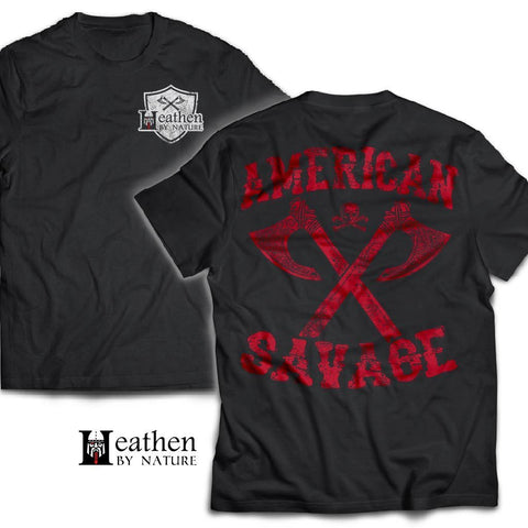 American made, Double sided T-shirt, American SavageApparel[Heathen By Nature authentic Viking products]Next Level Men's Triblend T-ShirtVintage BlackS