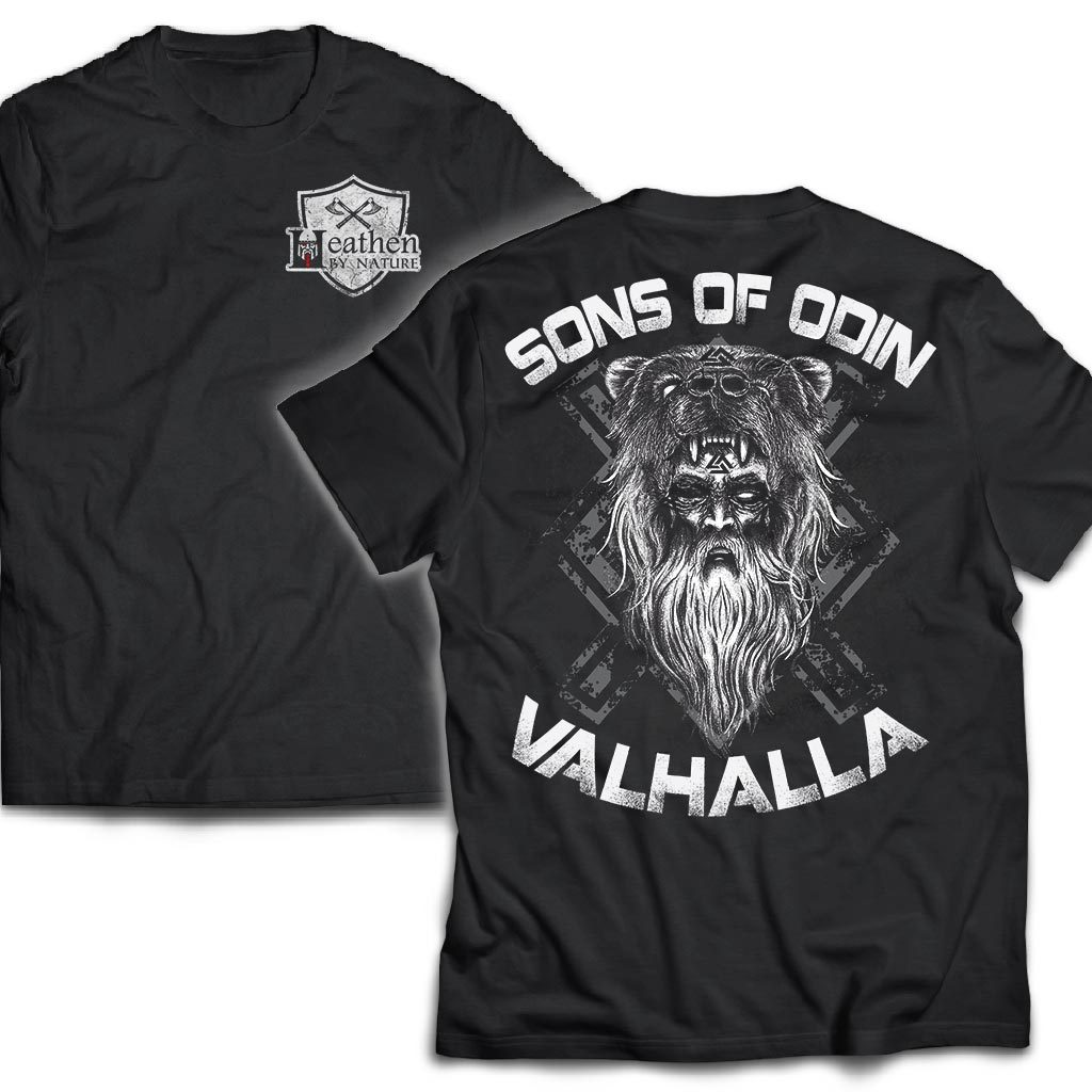 American made, Double sided T-shirt, Sons of Odin ValhallaApparel[Heathen By Nature authentic Viking products]Next Level Men's Triblend T-ShirtVintage BlackS