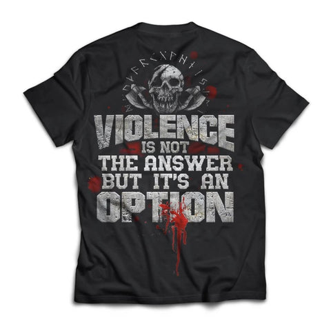 American made, Viking T-shirt, Violence Is Not The Answer, BackApparel[Heathen By Nature authentic Viking products]Next Level Men's Triblend T-ShirtVintage BlackS