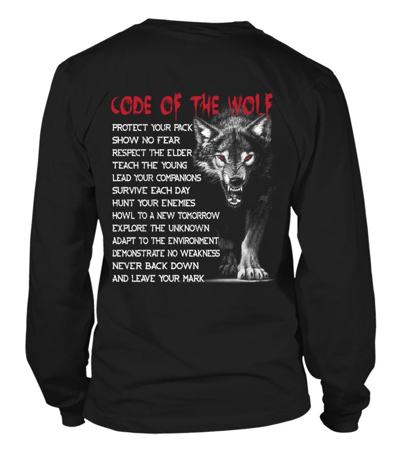 EU, Viking, Norse, Gym t-shirt & apparel, Code of the wolf, Back[Heathen By Nature authentic Viking products]blackXLLong Sleeved T-shirt Unisex