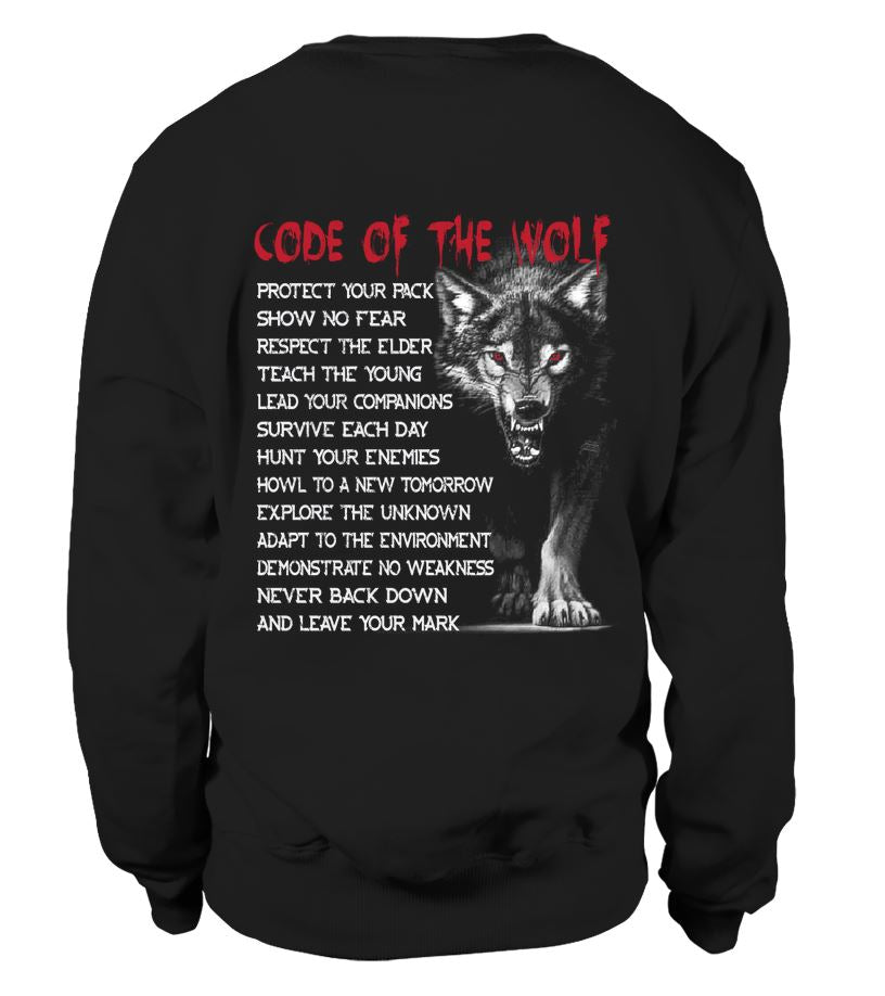 EU, Viking, Norse, Gym t-shirt & apparel, Code of the wolf, Back[Heathen By Nature authentic Viking products]blackXLSweatshirt Unisex
