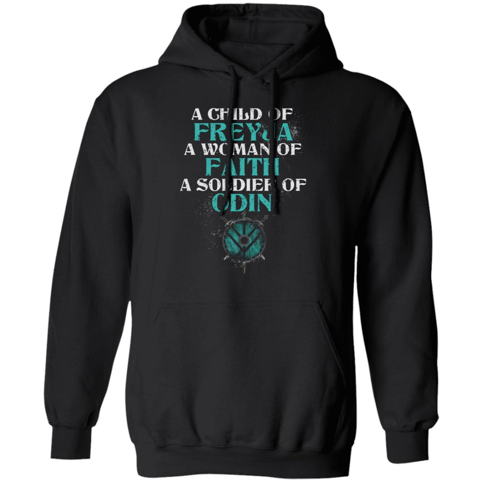 Shieldmaiden, Viking, Norse, Gym t-shirt & apparel, A child of Freyja, FrontApparel[Heathen By Nature authentic Viking products]Unisex Pullover HoodieBlackS