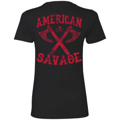 Shieldmaiden, Viking, Norse, Gym t-shirt & apparel, American Savage, BackApparel[Heathen By Nature authentic Viking products]Next Level Ladies' T-ShirtBlackX-Small