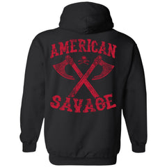 Shieldmaiden, Viking, Norse, Gym t-shirt & apparel, American Savage, BackApparel[Heathen By Nature authentic Viking products]Unisex Pullover HoodieBlackS