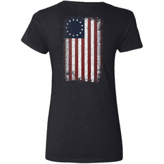 Shieldmaiden, Viking, Norse, Gym t-shirt & apparel, Betsy Ross Flag, BackApparel[Heathen By Nature authentic Viking products]Ladies' V-Neck T-ShirtBlackS