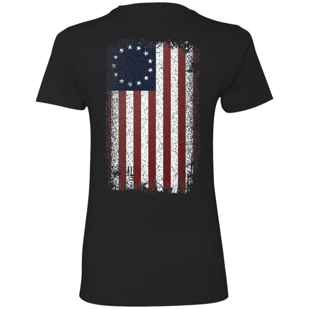 Shieldmaiden, Viking, Norse, Gym t-shirt & apparel, Betsy Ross Flag, BackApparel[Heathen By Nature authentic Viking products]Next Level Ladies' T-ShirtBlackX-Small
