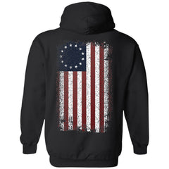 Shieldmaiden, Viking, Norse, Gym t-shirt & apparel, Betsy Ross Flag, BackApparel[Heathen By Nature authentic Viking products]Unisex Pullover HoodieBlackS