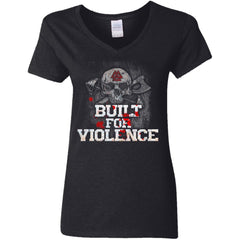 Shieldmaiden, Viking, Norse, Gym t-shirt & apparel, Built For Violence, FrontApparel[Heathen By Nature authentic Viking products]Ladies' V-Neck T-ShirtBlackS