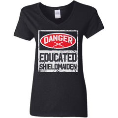 Shieldmaiden, Viking, Norse, Gym t-shirt & apparel, Danger educated shieldmaiden, frontApparel[Heathen By Nature authentic Viking products]Ladies' V-Neck T-ShirtBlackS