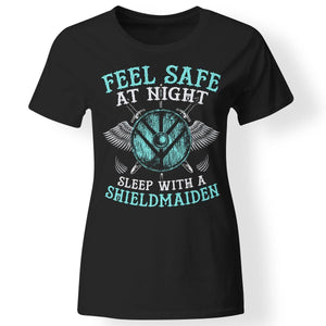 Shieldmaiden, Viking, Norse, Gym t-shirt & apparel, Feel safe at night, frontApparel[Heathen By Nature authentic Viking products]Next Level Ladies' T-ShirtBlackX-Small