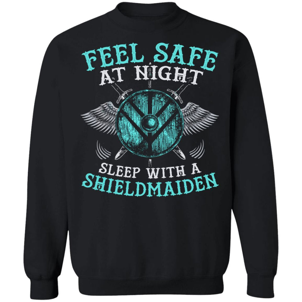 Shieldmaiden, Viking, Norse, Gym t-shirt & apparel, Feel safe at night, frontApparel[Heathen By Nature authentic Viking products]Unisex Crewneck Pullover SweatshirtBlackS