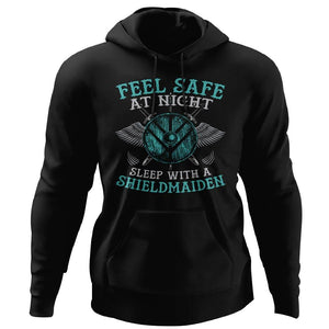 Shieldmaiden, Viking, Norse, Gym t-shirt & apparel, Feel safe at night, frontApparel[Heathen By Nature authentic Viking products]Unisex Pullover HoodieBlackS