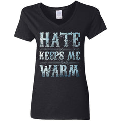Shieldmaiden, Viking, Norse, Gym t-shirt & apparel, Hate keeps me warm, FrontApparel[Heathen By Nature authentic Viking products]Ladies' V-Neck T-ShirtBlackS