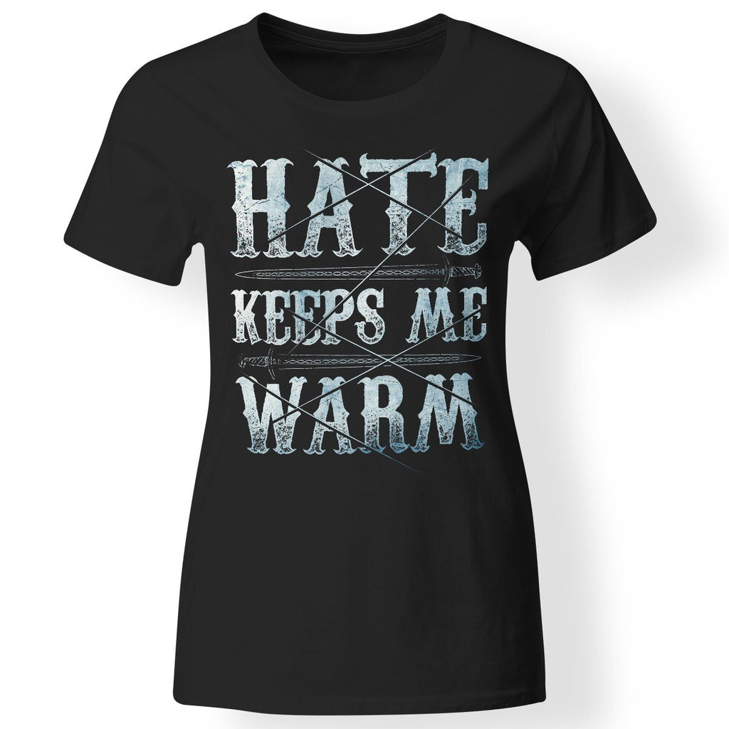Shieldmaiden, Viking, Norse, Gym t-shirt & apparel, Hate keeps me warm, FrontApparel[Heathen By Nature authentic Viking products]Next Level Ladies' T-ShirtBlackX-Small