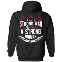 Shieldmaiden, Viking, Norse, Gym t-shirt & apparel, I am a strong man, BackApparel[Heathen By Nature authentic Viking products]Unisex Pullover HoodieBlackS