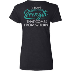 Shieldmaiden, Viking, Norse, Gym t-shirt & apparel, I have unstoppable strength, BackApparel[Heathen By Nature authentic Viking products]Ladies' V-Neck T-ShirtBlackS