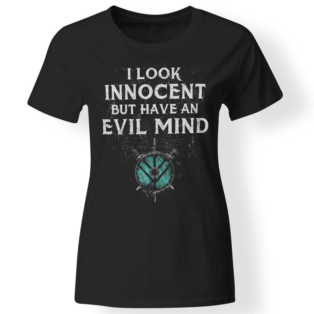 Shieldmaiden, Viking, Norse, Gym t-shirt & apparel, I Look Innocent, FrontApparel[Heathen By Nature authentic Viking products]Next Level Ladies' T-ShirtBlackX-Small