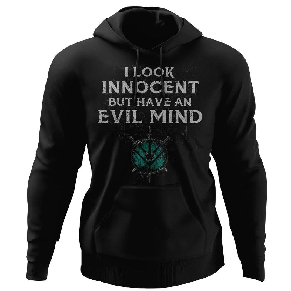 Shieldmaiden, Viking, Norse, Gym t-shirt & apparel, I Look Innocent, FrontApparel[Heathen By Nature authentic Viking products]Unisex Pullover HoodieBlackS