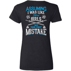 Shieldmaiden, Viking, Norse, Gym t-shirt & apparel, I was your first mistake, BackApparel[Heathen By Nature authentic Viking products]Ladies' V-Neck T-ShirtBlackS