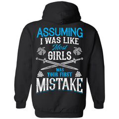 Shieldmaiden, Viking, Norse, Gym t-shirt & apparel, I was your first mistake, BackApparel[Heathen By Nature authentic Viking products]Unisex Pullover HoodieBlackS