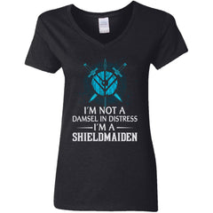 Shieldmaiden, Viking, Norse, Gym t-shirt & apparel, I'm A Shieldmaiden, FrontApparel[Heathen By Nature authentic Viking products]Ladies' V-Neck T-ShirtBlackS