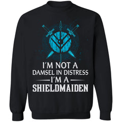 Shieldmaiden, Viking, Norse, Gym t-shirt & apparel, I'm A Shieldmaiden, FrontApparel[Heathen By Nature authentic Viking products]Unisex Crewneck Pullover SweatshirtBlackS