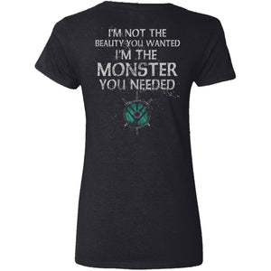 Shieldmaiden, Viking, Norse, Gym t-shirt & apparel, Monster you needed, backApparel[Heathen By Nature authentic Viking products]Ladies' V-Neck T-ShirtBlackS