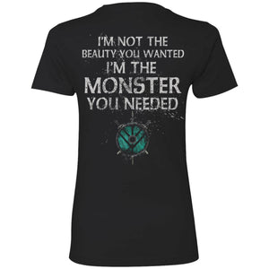 Shieldmaiden, Viking, Norse, Gym t-shirt & apparel, Monster you needed, backApparel[Heathen By Nature authentic Viking products]Next Level Ladies' T-ShirtBlackX-Small