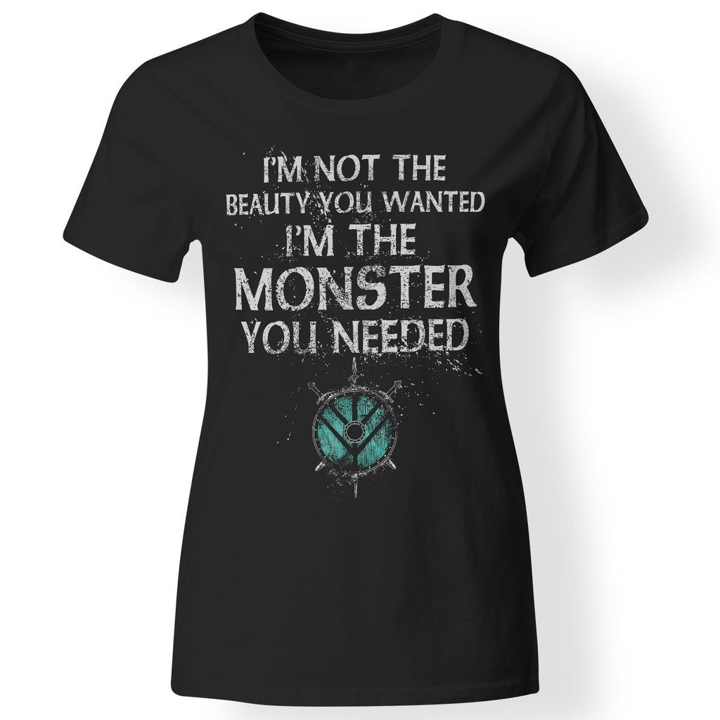 Shieldmaiden, Viking, Norse, Gym t-shirt & apparel, Monster you needed, FrontApparel[Heathen By Nature authentic Viking products]Next Level Ladies' T-ShirtBlackX-Small