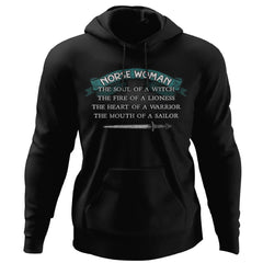 Shieldmaiden, Viking, Norse, Gym t-shirt & apparel, Norse Woman, FrontApparel[Heathen By Nature authentic Viking products]Unisex Pullover HoodieBlackS