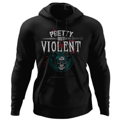 Shieldmaiden, Viking, Norse, Gym t-shirt & apparel, Pretty but Violent, FrontApparel[Heathen By Nature authentic Viking products]Unisex Pullover HoodieBlackS