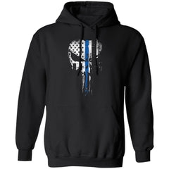 Shieldmaiden, Viking, Norse, Gym t-shirt & apparel, Skull Thin Blue Line,FrontApparel[Heathen By Nature authentic Viking products]Unisex Pullover HoodieBlackS