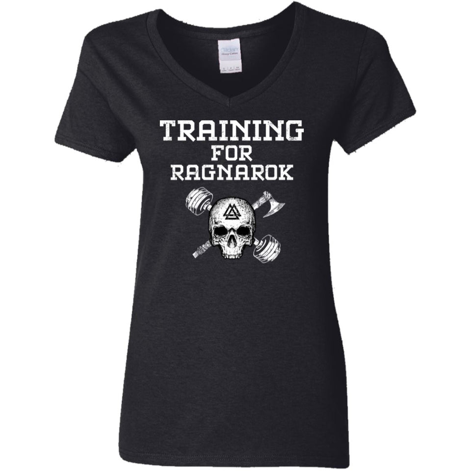 Shieldmaiden, Viking, Norse, Gym t-shirt & apparel, Training For Ragnarok, FrontApparel[Heathen By Nature authentic Viking products]Ladies' V-Neck T-ShirtBlackS