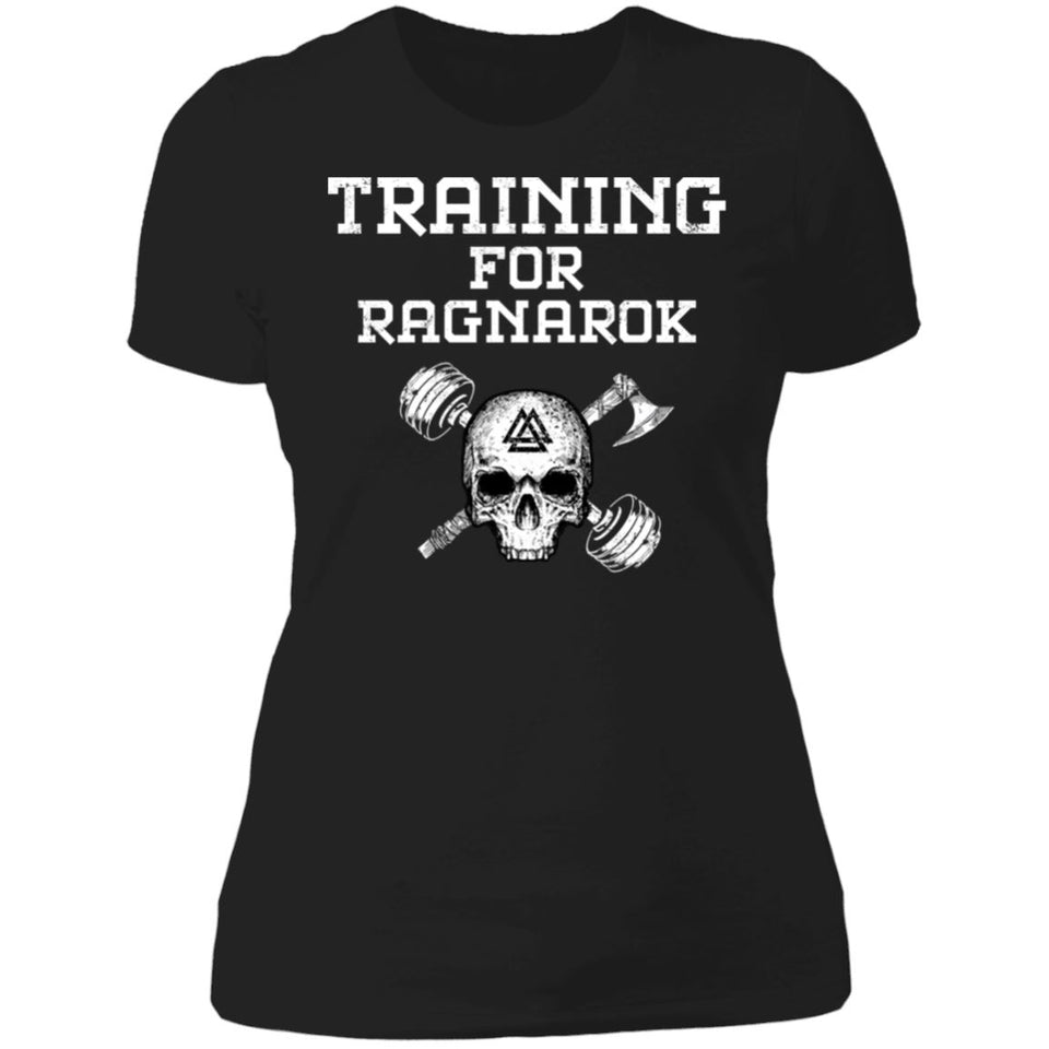 Shieldmaiden, Viking, Norse, Gym t-shirt & apparel, Training For Ragnarok, FrontApparel[Heathen By Nature authentic Viking products]Next Level Ladies' T-ShirtBlackX-Small