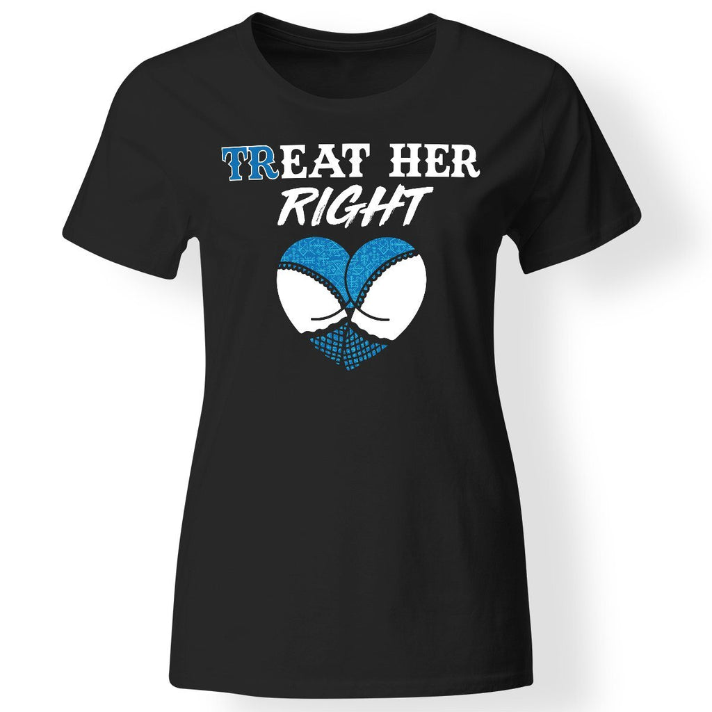 Shieldmaiden, Viking, Norse, Gym t-shirt & apparel, Treat her right, FrontApparel[Heathen By Nature authentic Viking products]Next Level Ladies' T-ShirtBlackX-Small