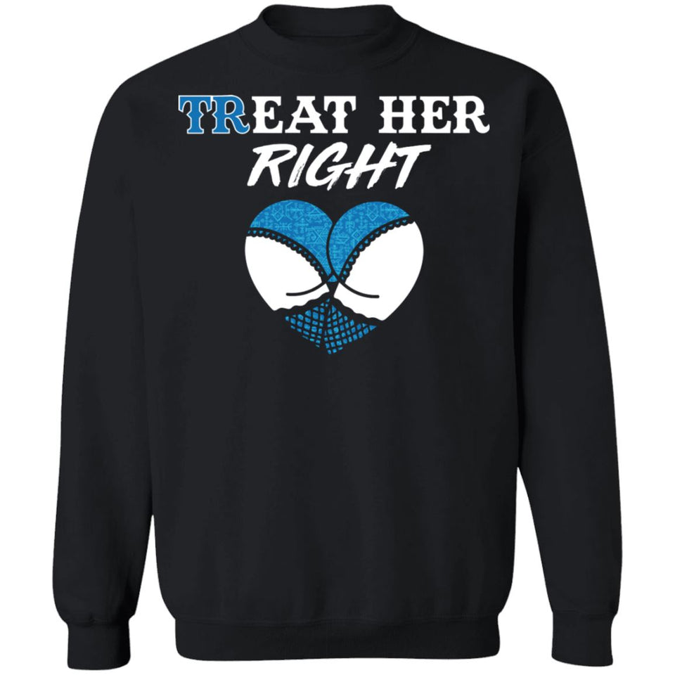 Shieldmaiden, Viking, Norse, Gym t-shirt & apparel, Treat her right, FrontApparel[Heathen By Nature authentic Viking products]Unisex Crewneck Pullover SweatshirtBlackS