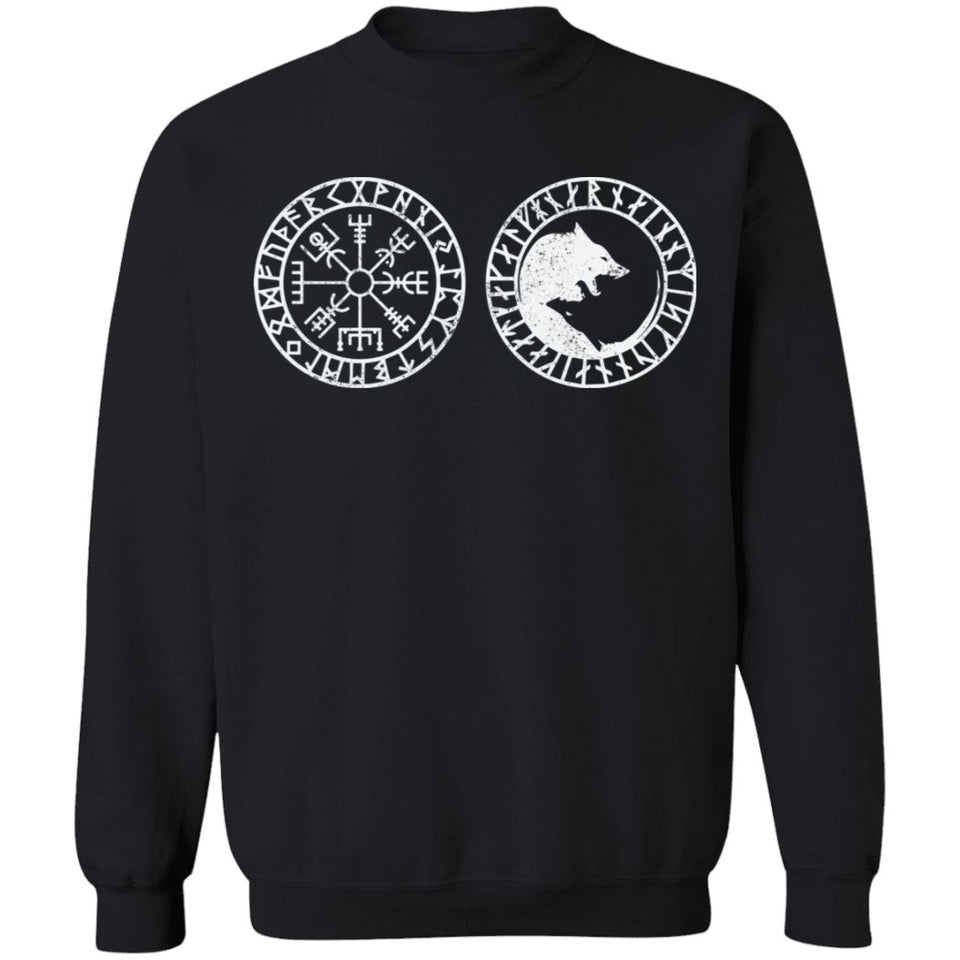 Shieldmaiden, Viking, Norse, Gym t-shirt & apparel, Vegvisir, FrontApparel[Heathen By Nature authentic Viking products]Unisex Crewneck Pullover SweatshirtBlackS