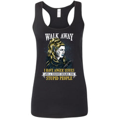 Shieldmaiden, Viking, Norse, Gym t-shirt & apparel, Walk Away, FrontApparel[Heathen By Nature authentic Viking products]Ladies' Softstyle Racerback TankBlackS