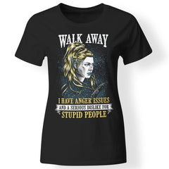 Shieldmaiden, Viking, Norse, Gym t-shirt & apparel, Walk Away, FrontApparel[Heathen By Nature authentic Viking products]Next Level Ladies' T-ShirtBlackX-Small